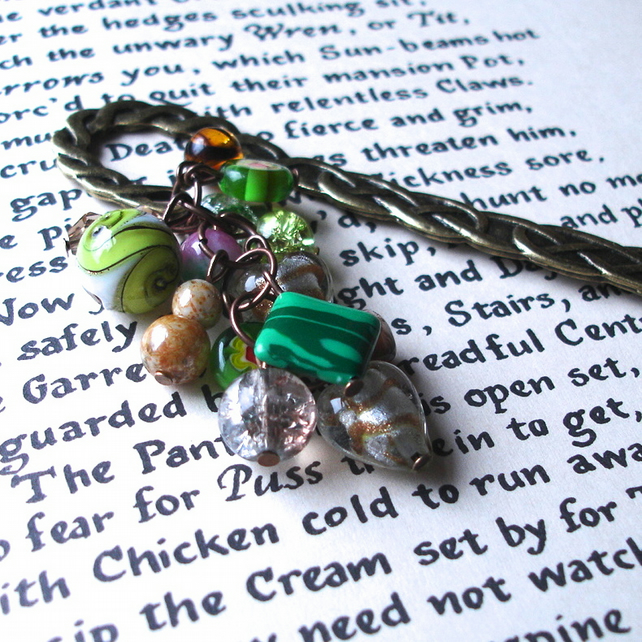 Green and Earth Tones Bead Cluster Bookmark