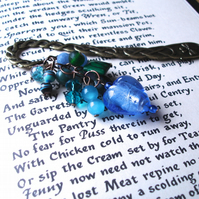 Blue Green Bead Cluster Bookmark