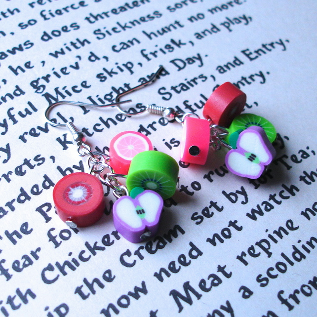 Zingy Fruit Polymer Clay Cluster Earrings