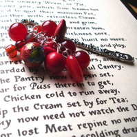Bookmark with Red Bead Cluster