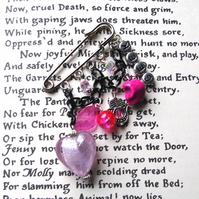 Geek Heart Kilt Pin Brooch in Hot Pink - Love Skull Alternative Gothic Valentine
