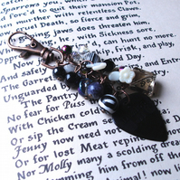 Rock Chick Bag Charm with Black and White Bead Cluster