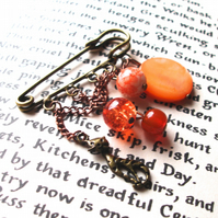 Kilt Pin Brooch in Orange and Copper with Kitty Cat