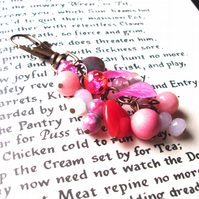 Bag Charm with Pink Bead Cluster