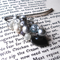 Bookmark with Silver Sparkle Bead Cluster - Gift for Her - Valentines