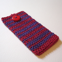 Crochet Mobile iPhone 5 Cosy in Deep Ruby Red and Violet