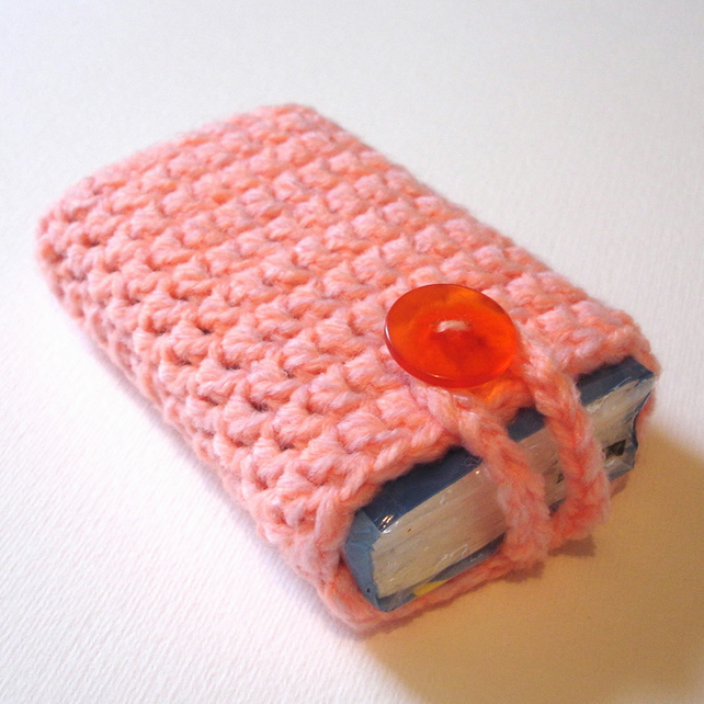 Pink Peach Marl Crochet Travel Tissue Pouch with Button