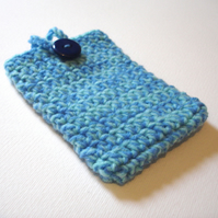 Blue Aqua Marl Crochet Travel Tissue Pouch with Button