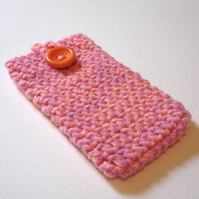 Lilac Peach Marl Crochet Mobile iPhone 5 Cozy with Button