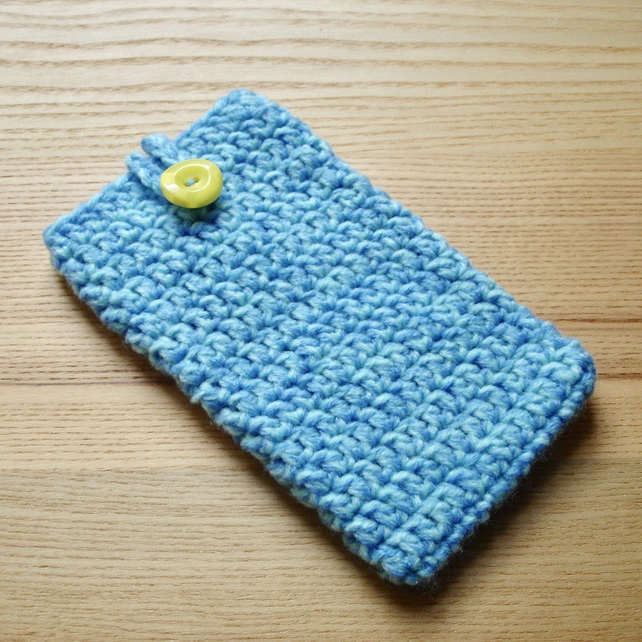 Blue Marl Crochet Mobile iPhone 6 7 Plus Cozy with Button