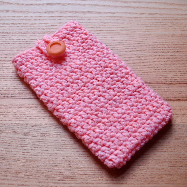 Pink Orange Marl Crochet Mobile iPhone 6 7 Plus Cozy with Button