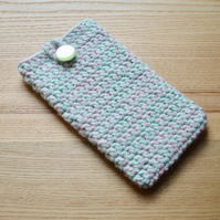 Pink Green Marl Crochet Mobile iPhone 6 7 Plus Cozy with Button