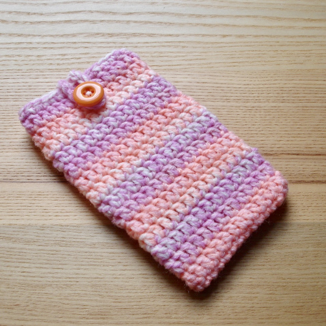 Peach Pink Marl Crochet Mobile iPhone 6 7 Plus Cozy with Button