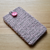 Pink Grey Marl Crochet Mobile iPhone 6 7 Plus Cozy with Button
