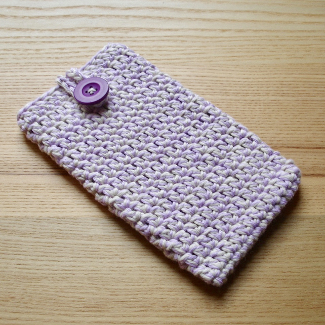 Lilac Cream Marl Crochet Mobile iPhone 6 7 Plus Cozy with Button