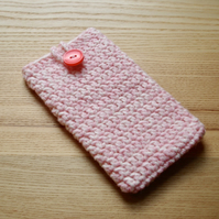 Pink White Marl Crochet Mobile iPhone 6 7 Plus Cozy with Button