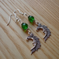 Green Man in the Moon Charm Earrings