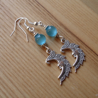 Turquoise Man in the Moon Charm Earrings
