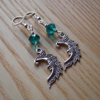 Teal Man in the Moon Charm Earrings