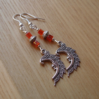 Orange Man in the Moon Charm Earrings