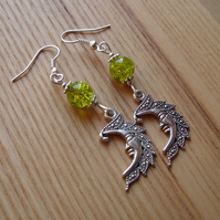 Lime Man in the Moon Charm Earrings