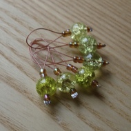 Lime Crackle Glass Bead Knitting Stitch Markers pack of 6