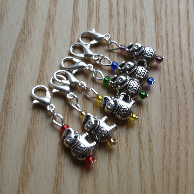 Rainbow Elephant Crochet Stitch Markers, Gift for Nature Lover