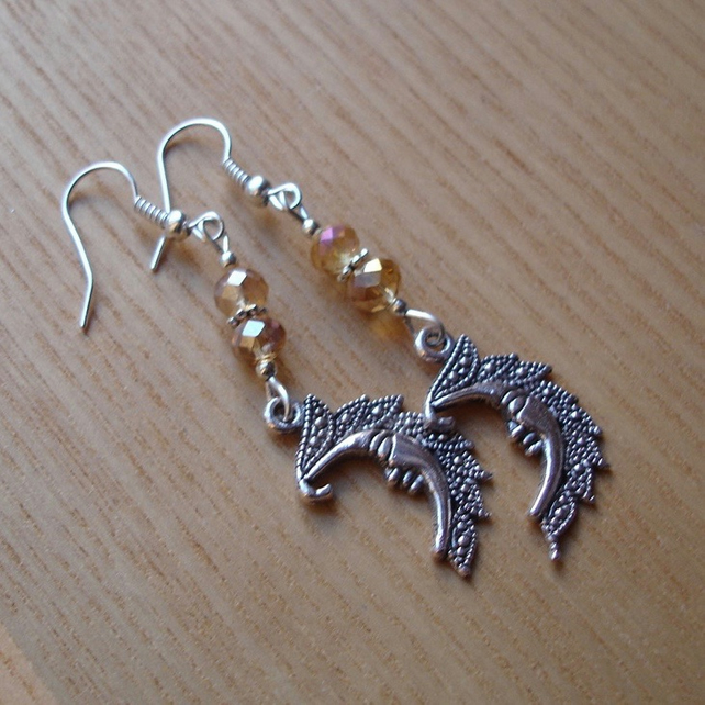 Champagne Man in the Moon Charm Earrings