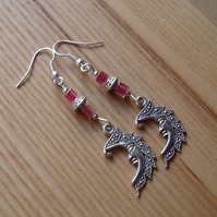 Pink Man in the Moon Charm Earrings