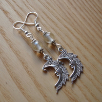 Clear Man in the Moon Charm Earrings