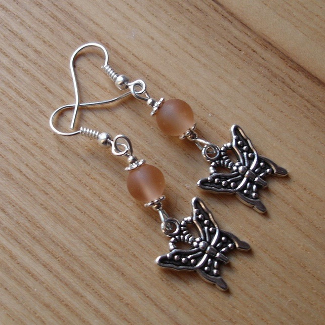 Matte Pink Butterfly Charm Earrings