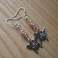Sparkly Pink Butterfly Charm Earrings