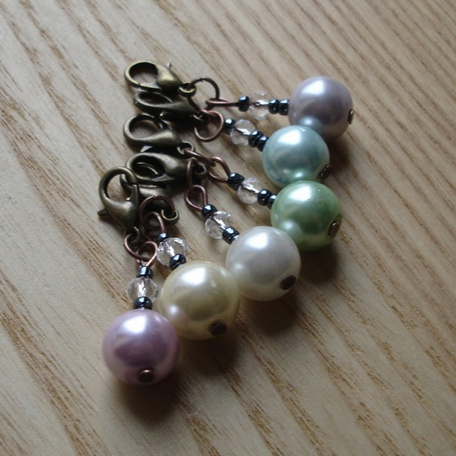 Chic Pearl and Sparkle Crochet Stitch Markers