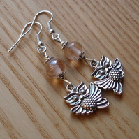 Pale Pink Owl Charm Earrings
