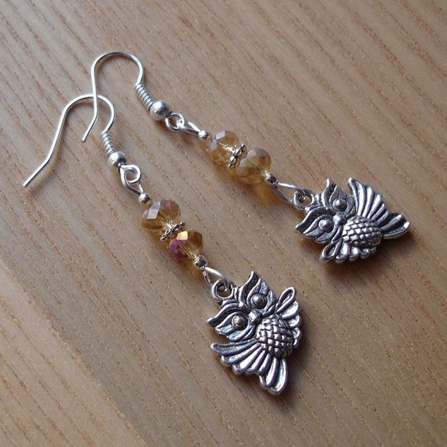 Champagne Owl Charm Earrings