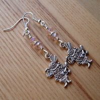 Pink Mad March Hare Charm Earrings, Alice in Wonderland
