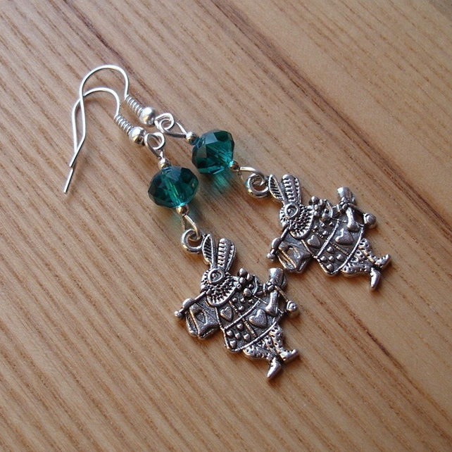 Teal Mad March Hare Charm Earrings, Alice in Wonderland