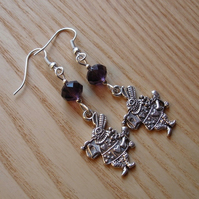 Purple Mad March Hare Charm Earrings, Alice in Wonderland