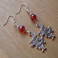 Red Mad March Hare Charm Earrings, Alice in Wonderland