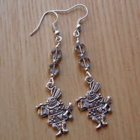 Grey Mad March Hare Charm Earrings, Alice in Wonderland