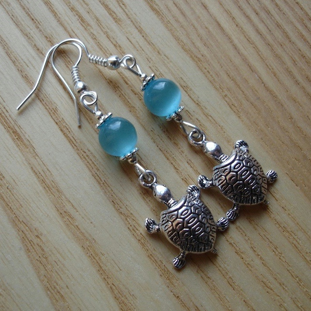 Turquoise Turtle Charm Earrings