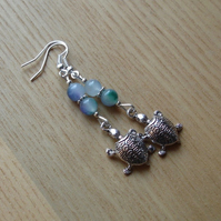 Mottled Turtle Charm Earrings