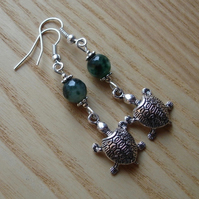 Moss Green Turtle Charm Earrings