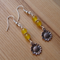 Yellow Sunflower Charm Earrings
