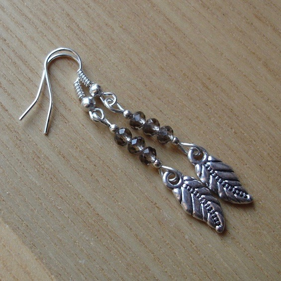 Ash Grey Leaf Charm Earrings