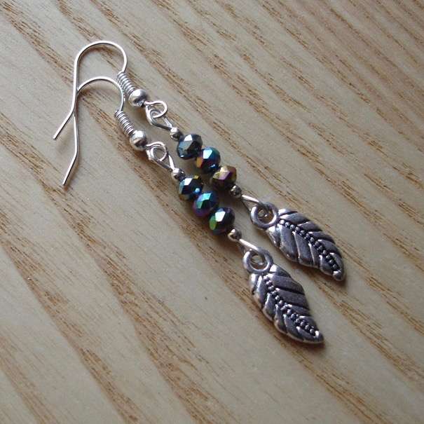 Graphite Leaf Charm Earrings