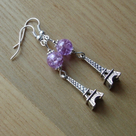 Purple Paris Eiffel Tower Charm Earrings