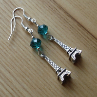 Teal Paris Eiffel Tower Charm Earrings
