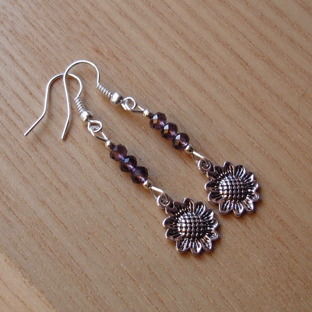 Purple Sunflower Charm Earrings