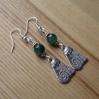 Green Striped Cheshire Cat Charm Earrings - Gift for Her